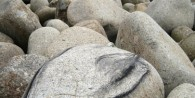 Selkie drawing on a rock in Penwith, Cornwall