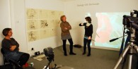 Jane, Lynne and Annie in the Demonstration space with my drawings